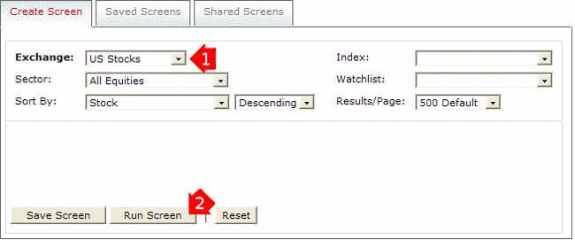 Stock Screener Input Page